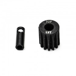 Pignon moteur 32dp ø5mm + adaptateur 3,17mm 13 dents en acier