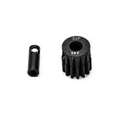 Pignon moteur 32dp ø5mm + adaptateur 3,17mm 14 dents en acier
