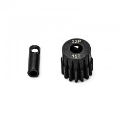 Pignon moteur 32dp ø5mm + adaptateur 3,17mm 15 dents en acier