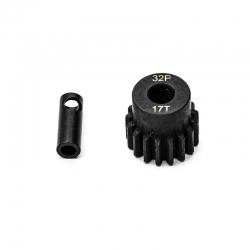 Pignon moteur 32dp ø5mm + adaptateur 3,17mm 17 dents en acier