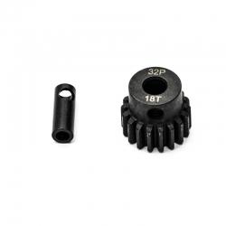 Pignon moteur 32dp ø5mm + adaptateur 3,17mm 18 dents en acier