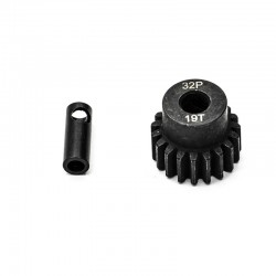 Pignon moteur 32dp ø5mm + adaptateur 3,17mm 19 dents en acier