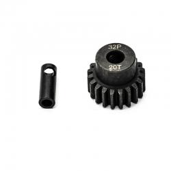 Pignon moteur 32dp ø5mm + adaptateur 3,17mm 20 dents en acier