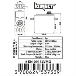 Servo Konect Digital 9kg-0.13s pignons métal
