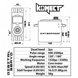Servo Konect Digital 21kg-0.16s Etanche pignons métal