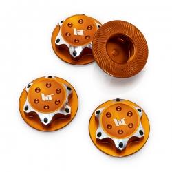 Ecrous de roues borgne en aluminium 17mm Orange