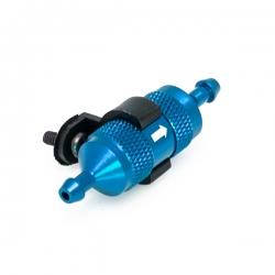 Bleu Filtre a carburant alu (dit a metaux frites) anodise + support