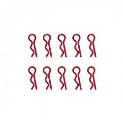 Clips de carrosserie rouge anodisés 1/10ème 10pcs
