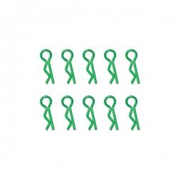 Clips de carrosserie vert anodisés 1/10ème 10pcs