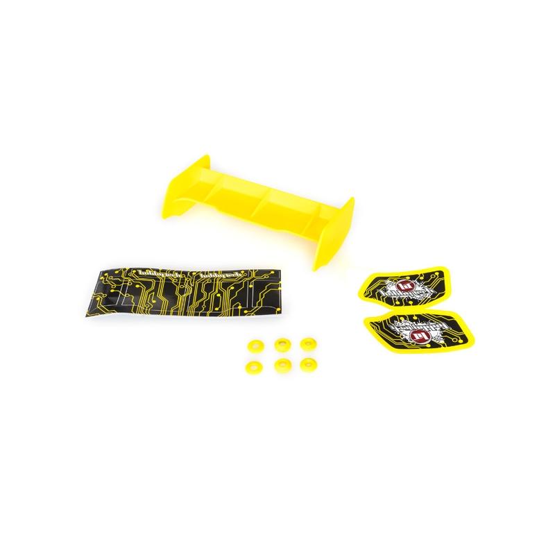 Aileron buggy 1/10 plastique jaune+stickers