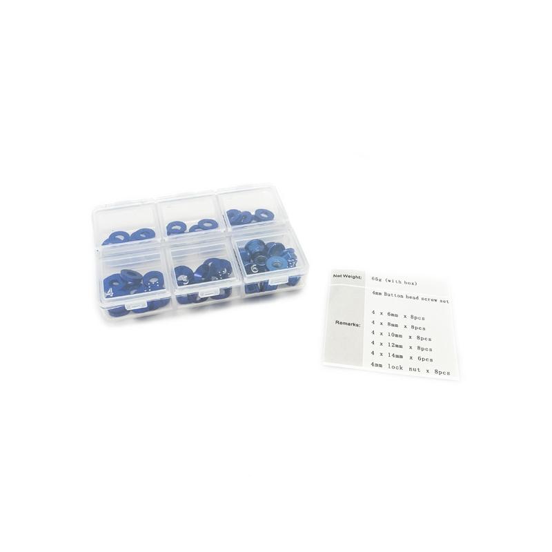 Set de rondelle et écrou en alu anodisée Bleu (60pcs)